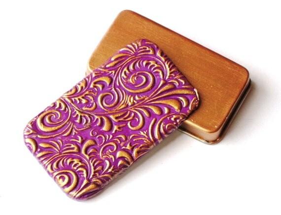 Pill Box Purple & Gold Rococo