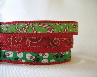 Christmas Candy Cane Large Dog Collar