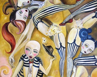 Contortionists painting print vintage circus figurative art by Jenna Fournier