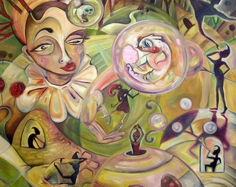 The Carnivore Carnival painting print whimsical circus surreal abstract art