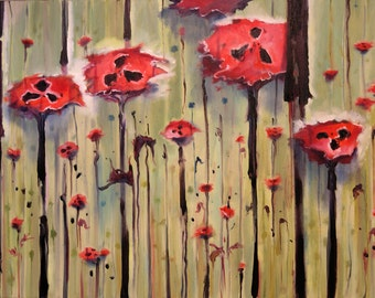 Poppy Field wall art impressionistic floral painting red poppies print