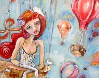 Hot air Balloon Ride painting print redhead woman figurative art
