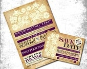 Vintage ColorBlock Wedding Invitation Design - Printable JPG - Information Card