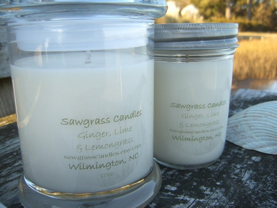 Ginger and Lime -  soy wax candle made with essential oils - 12oz