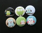 6 Button Magnet Set - Owls 4