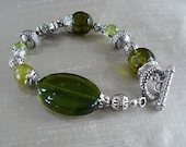 Forest Stroll Green and Silver Bracelet