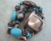 Maggie - Antiqued Copper and Turquoise Interchangeable Watch Band