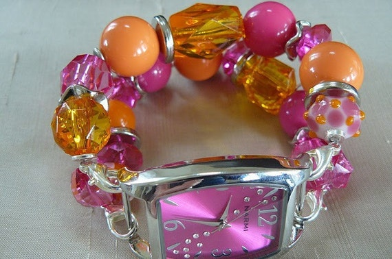 Raspberry Marmalade - Orange and Pink Interchangeable Watch Band