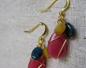 Mikala pink wire wrapped earrings