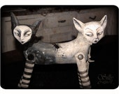 Push-Me-Pull-You  - two headed cat artdoll - soft sculpture - HANDPAINTED - - - ooak