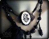 necklace - Lilies of the Night - ooak,  gothic, royal, victorian, neovictorian, dark romance, queen