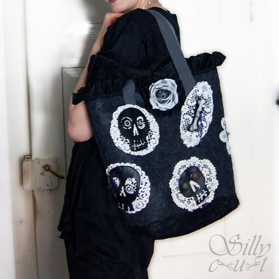 tote bag - Day-Of-The-Dead - large, upcycled. shoulderbag, felt, grey & black