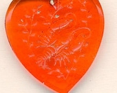 vintage pendant red heart glass zodiac sign cancer