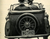 vintage 1956 advertisement typewriter royal lovers in car with flat tire 10 inches by 13 inches