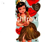vintage hula girl pinup valentine card digital download