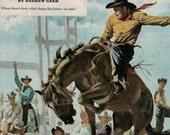 dark horse to ride 1950 rodeo illustration