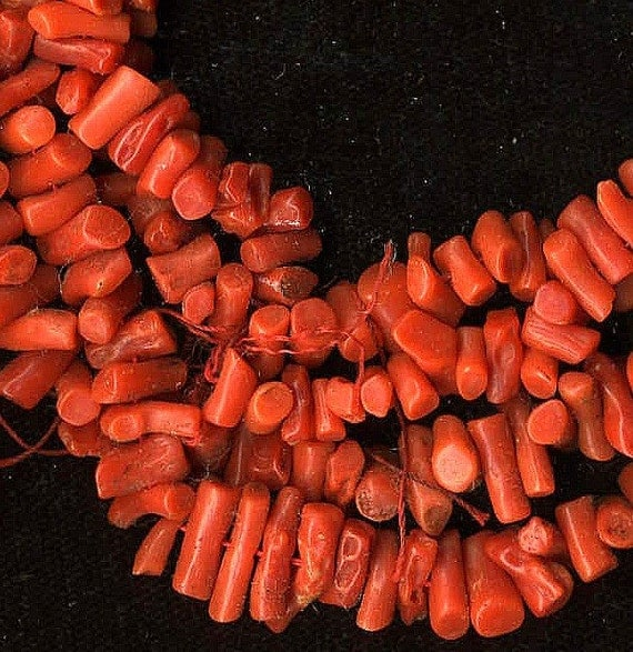 reserved for JAMES ROBINSON vintage red coral necklace old pawn navajo native american over 50 inches long