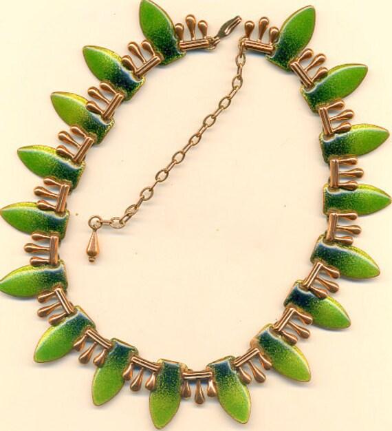 vintage matisse renoir copper green enamel necklace