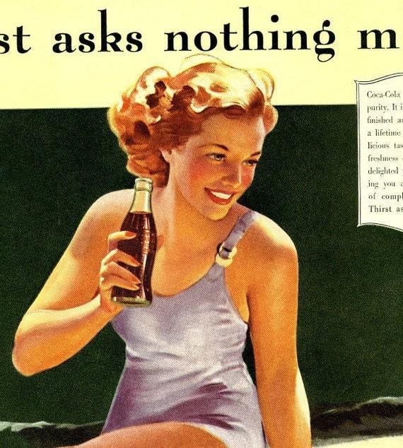 vintage pinup swimsuit 1940 coca cola advertisement