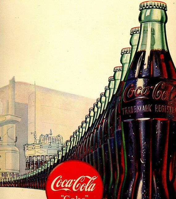 vintage 1947 advertisement coca cola art deco by frenchfroufrou. Black Bedroom Furniture Sets. Home Design Ideas
