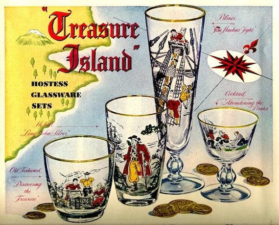 vintage  libbey glasses treasure island 1951 advertisement