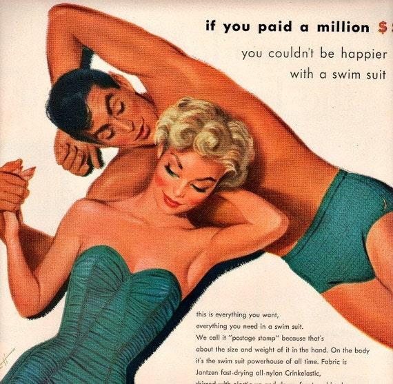 vintage pinup swimsuit  1953 advertisement jantzen