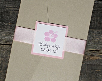 Hibiscus Pocketfold Wedding Invitation - Pink Tropical Hawaiian Beach Floral  with Ribbon Belly Band.  Purchase this listing for a Sample.