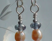 052 Pink Pearl Dangle with Blue Czech Glass