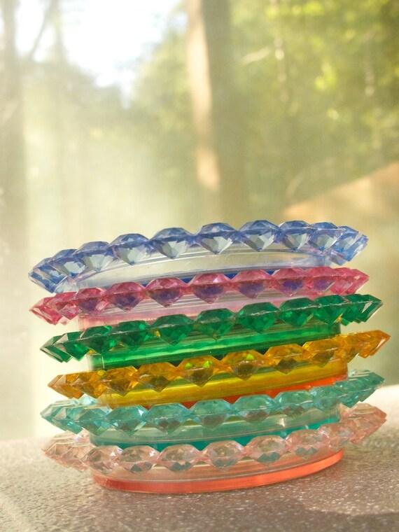 1960s Bright Jewel Colored Coasters