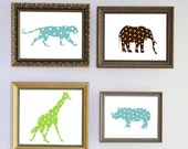 polka dot jungle animal vinyl decal set