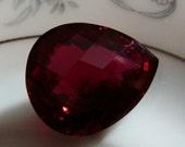 Blood Red Topaz  Hearty Pear Shape Rose Facet Briolettes  One Focal Pendant Briolette UNDRILLED