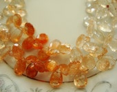 Luxurious SunStone Faceted Pear  2Inches 16 Briolettes