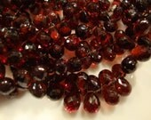 Gorgeous HIgh Grade Crimson Red Garnet Faceted Drop Briolettes 10 Beads 7.5 to 8.5 mm