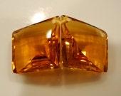 Large Cognac Color Citrine Fancy Facets Kite Shape Briolette Pair Drilled