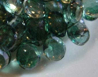 Mystic Green Quartz Faceted Pear Shape Briolette 10 - 11 mm 10 Beads