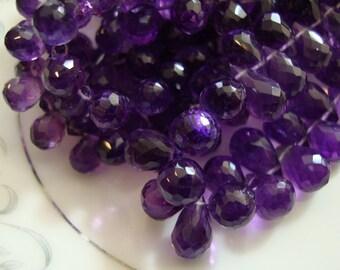 Very Fine Quality Amethyst Teardrop Briolettes 10 Beads