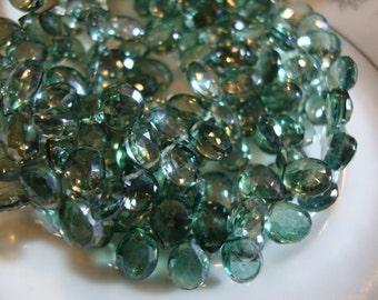 Mystic Green Quartz Faceted Pear Shape Briolette 7- 9 mm 10 Beads