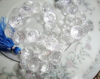 Large Rock Crystal Candy Kisses  Onion Shape Briolettes 6 Pcs Lot