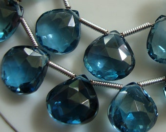 AA to AAA Natural London Blue Topaz Faceted Heart Briolettes One Matched Pair 10 mm