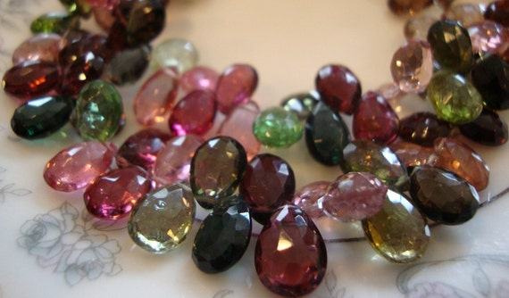 Rserved for S  LUXE Collection AAA Exquisite Tourmaline Faceted Pear Shape Briolettes LAST Strand
