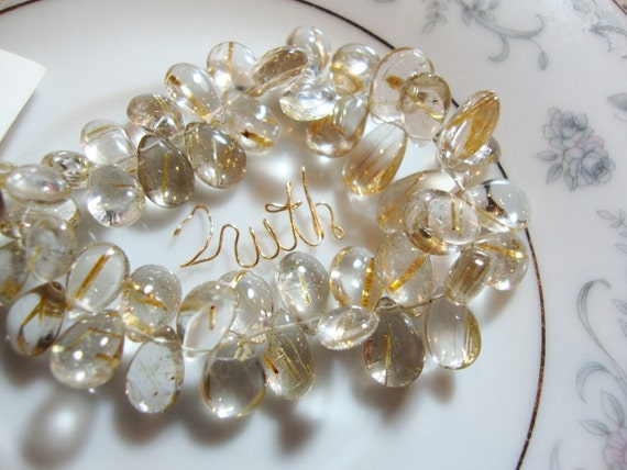 1/2 Strand Gorgeous AAA Golden Rutilated Quartz Smooth Polished Pear Briolettes
