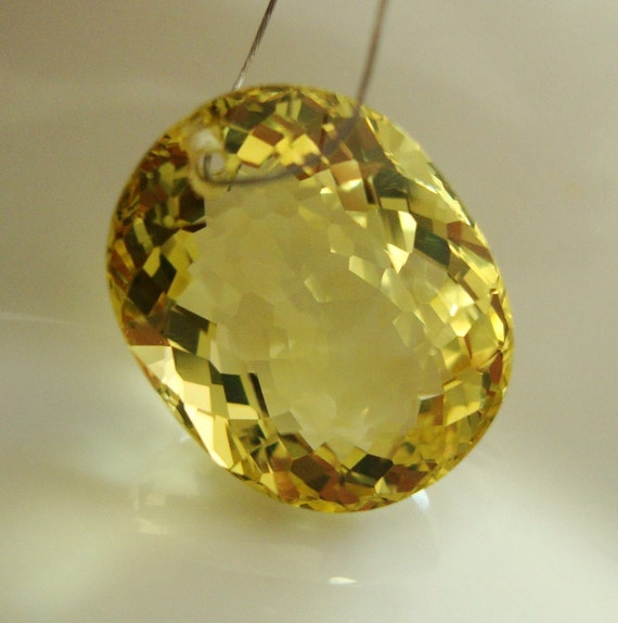 Breath Taking  Brilliant Rose Cut Lemon Quartz Oval shape  pendant Briolettet DRILLED