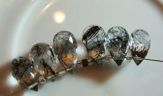 AAA Rutilated Black Quartz Briolettes 3  Matched Pairs