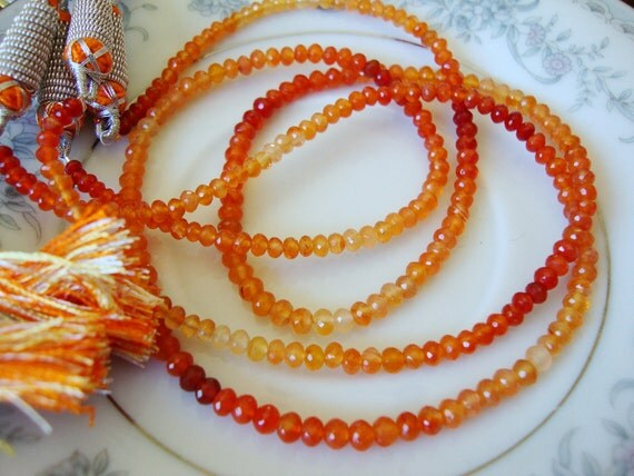 Top Grade Carnelian Micro Faceted Rondelles 8 Inch Strand