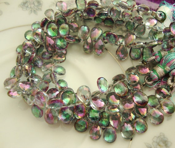 NEW Mystic Topaz Faceted Pear Briolettes