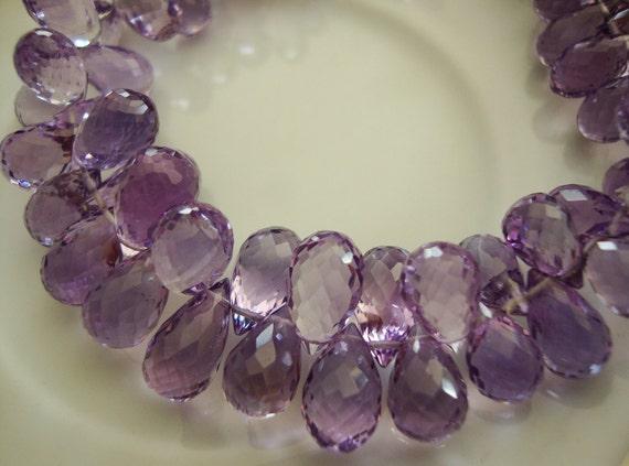 Finest Pink Amethyst  Faceted Teardrop Briolettes 10 Piece Set