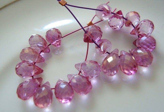 Mystic Rosy Pink Topaz Faceted Teardrop Briolettes