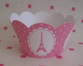 CUPCAKE WRAPPERS - PARIS EIFFEL TOWER - PINK