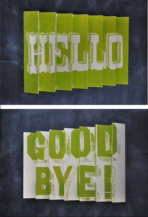 Hello / Goodbye 3D poster - Green