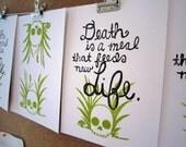 Death is a Meal -- Original Block Print